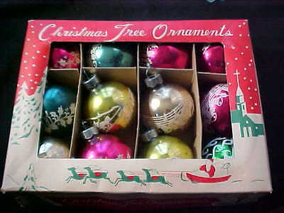 VINTAGE CHRISTMAS ORNAMENT BOX LOT OF 12 STENCILED FREE SHIPPING