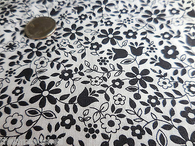 BTY Vintage Cotton Quilt Fabric Black White Calico Small Floral 36W