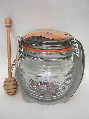 New Kilner Glass Honey Pot With Beechwood Dipper And Clip Lid  0.4L 0025.499