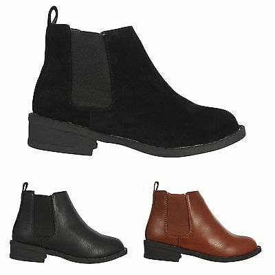New Girls Kids Chelsea Zip Flat School Casual Ankle Shoes Boots Sizes Uk 10-2
