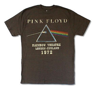 Pink Floyd Rainbow Theatre 1972 Brown T Shirt New Official Reissie Soft