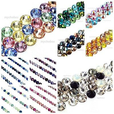 144 Mixed Colors Swarovski 2058/2088 Crystal Flatbacks (Pick your Size & Color)