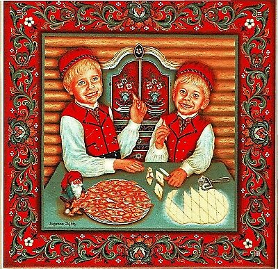 "Norwegian Trivet Tile  ""Fattigmann Boys"" with recipe  6"" X 6"" Suzanne Toftey art"