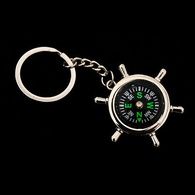 Portable Mini Compass Camping Sport Hike Metal Rudder Keychain Ring Outdoor