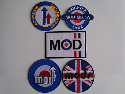 Wholesale 5 Assorted Vespa Scooter Patches Iron / Sew On Mod Northern Soul