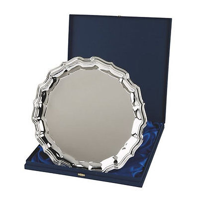 """Personalised Large 12"""" Silver Chippendale Salver Award Engraved With Any Text"""