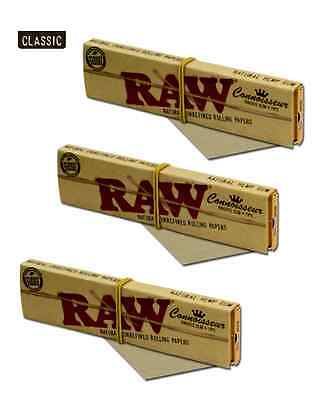 3X Packs of RAW King Size Slim CONNOISSEUR papers with TIPS Unbleached Natural