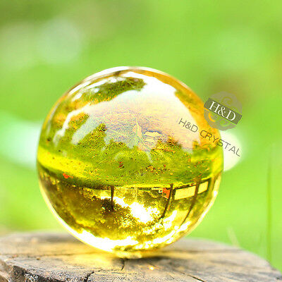 Asian Rare Natural Quartz Yellow Magic Crystal Healing Ball Sphere 50mm + Stand