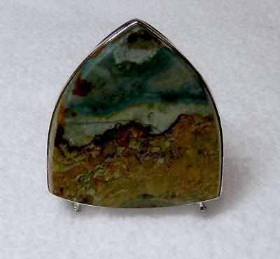 Vistaite Jasper Collector's Cabochon Set in a Sterling Silver Easel  HS  WoW!