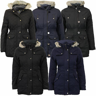 b0e653ca7 GIRLS PARKA JACKET Brave Soul Coat Kids Padded Hooded Fur PU School ...