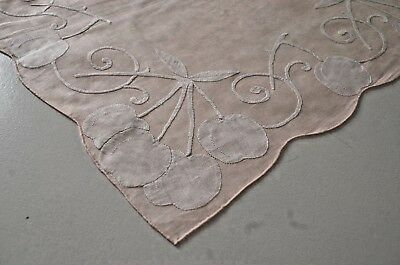 Gorgeous Madeira Embroidered Pink Linen Cloth Doily W Shadow Applique Pp847