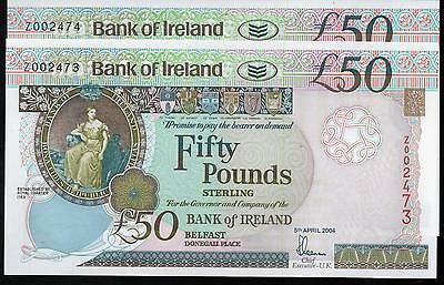 VERY SCARCE Bank of Ireland £50 fifty ZZ REPLACEMENT banknote Belfast 2004 UNC