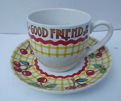 Mary Engelbreit Tea Cup Cherries LIFE HAS NO BLESSING LIKE A GOOD FRIEND