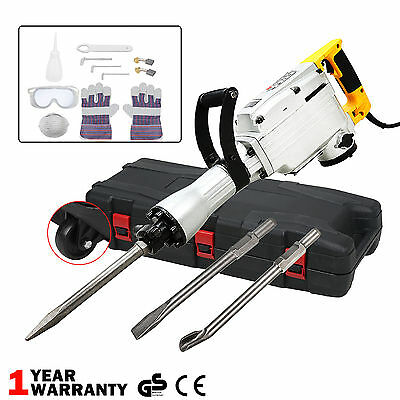 1700W Electric Demolition Hammer Drill Concrete Breaker 3 Chisels Heavy Duty