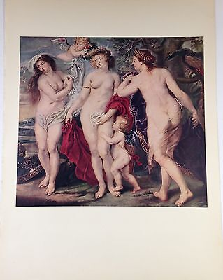"""1955 Vintage Full Color Art Plate """"JUDGMENT OF PARIS"""" by RUBENS Lithograph NUDE"""
