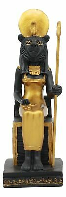 Sitting Goddess Sekhmet on Throne Ancient Egyptian Sculpture Summit Statue 7.5""