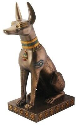 Ancient Egyptian Large Bronze Finish Anubis Afterlife God on Pedestal Figurine