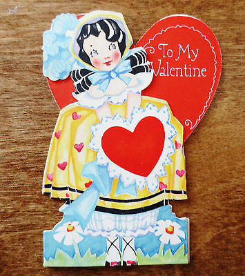 1930s Valentine's Day Card Old Fashioned Daisy Heart Girl Carrington Used