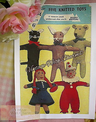 Vintage Toy Knitting Pattern For A Kitty Cat JUST £1.69 !!! Teddy /& Rabbit