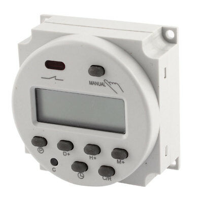 AC/DC12V Digital Electronic LCD Time Relay Switch Programmable Timer Gray