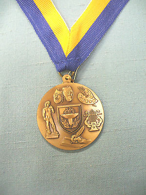 fine arts gold medal award blue and gold neck drape