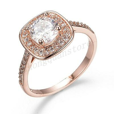 Size 6-10 White Sapphire Women's 10KT Rose Gold Filled Engagement & Wedding Ring
