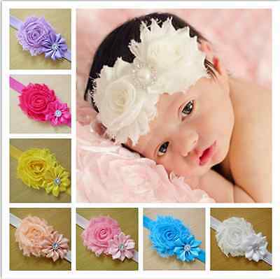 10PCS Hair Bow Band Kids Girls Baby Toddler Infant Flower Headband Accessories