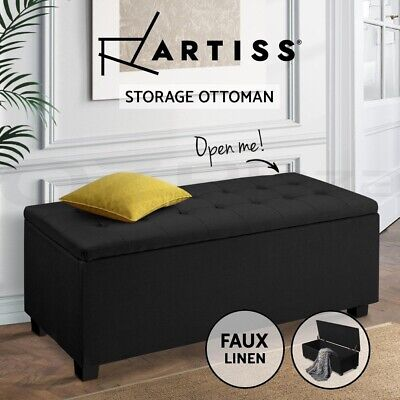 Artiss Blanket Box Ottoman Storage Fabric Footstool Chest Toy Bed Charcoal Black
