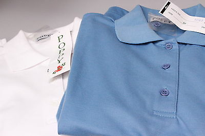 Two Ladies Short Sleeved Golf Polo Shirts Poly Cotton Mix 1 Mid Blue 1 White 10