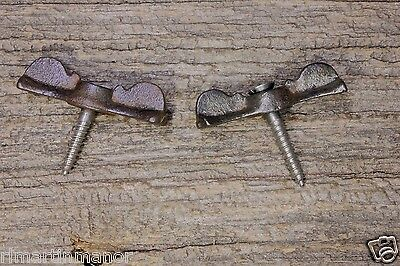 "2 Jelly cupboard cabinet 1 3/4"" bow tie turn latches old rustic clean cast iron"
