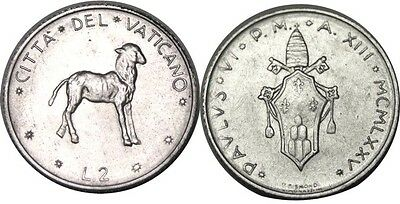 elf Vatican City 2 Lire 1975 Pope Paul VI  Lamb  Sheep