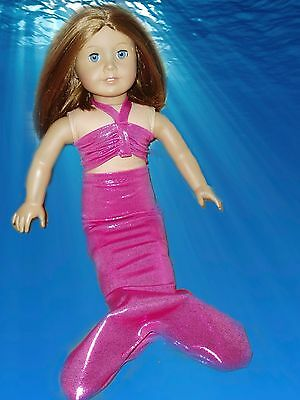 "Hot Pink Fish Scales Mermaid Outfit Fits American girl dolls 18/"" Doll Clothes"