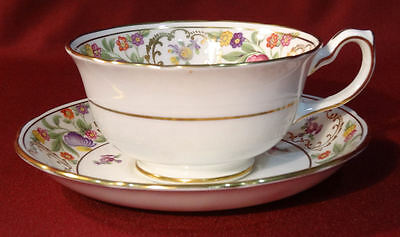 Hammersley England DRESDEN SPRAYS  Cup & Saucer-Scalloped Gold Orange Flower