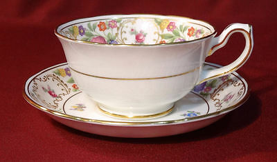 Hammersley England DRESDEN SPRAYS  Cup & Saucer-Scalloped Gold Parrot Tulip
