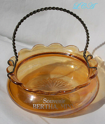 RARE Antique BERTHA MINNESOTA souvenir GOLDEN glass basket with wire handle