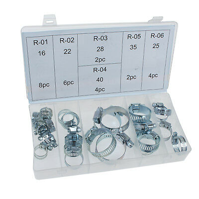 26 Piece Heavy Duty Jubilee Clip Hose Clamp Assorted Zinc Plated Set Tool Box