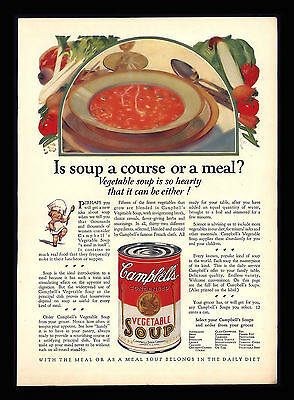"""Original 1928 """"campbell's Vegetable  Soup""""  Course Or Meal Antique Print Ad"""