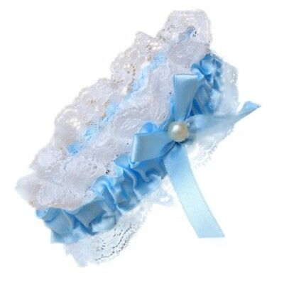 Blue Ribbon Bow Pearl Centre Lace Elasticated Garter Wedding Bridal Accessories