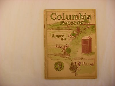 Original Columbia Graphophone Phonograph Record Catalog - August, 1918