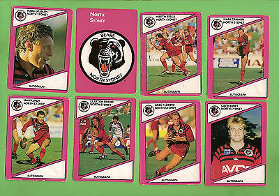 1988 Scanlens Rugby League Cards - North Sydney Bears