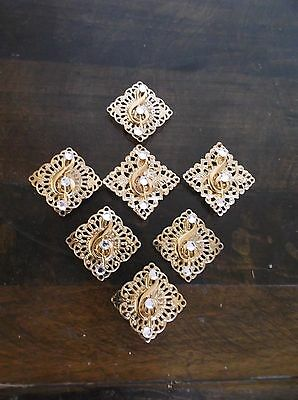 Set/7 Square Goldtone Metal Button Covers, Musical Note Key, Rhinestones, 1 1/8""