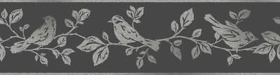Fine Decor Glitz Glitter Sparkle Birds Leaf Tree Black Silver Wallpaper Border