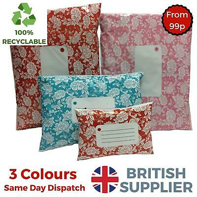 Floral Printed Plastic Mailing Mail Poly Post Bags Strong Coloured Self Seal