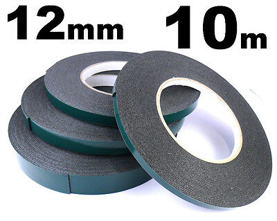 Double Sided Car Trim Moulding & Badge Tape- Strong Foam Adhesive- 12mm x 10m