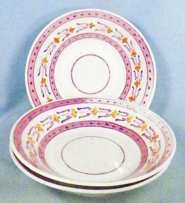 3 Antique Pink Luster Saucers Porcelain Fading on Borders No Cups