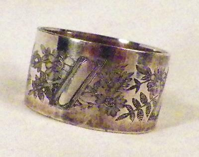 Antique Silverplate Napkin Ring Victorian Flowers Floral As Is Cond