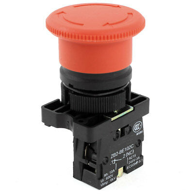 ZB2-BE102C Emergency Stop Latching Red Sign Push Button Switch NC 240V 3 Amp