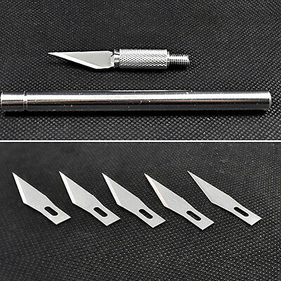 Durable Wood Carving Pen Paper Cutter Sculpting Cutting Hand Craft Knife+5 Blade
