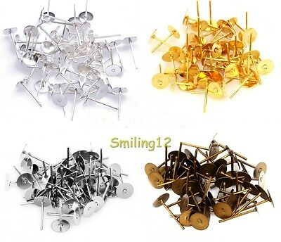 Wholesale 6mm Flat Earring Earrings Post Stud Jewelry Making Findings 100 Pcs