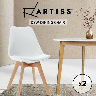 Artiss Padded Retro Replica Eames DSW Dining Chairs Cafe Chair Kitchen White x2